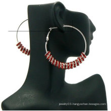 2013 Hottest Wholesale Fashion Basketball Wives Earrings 8mm Stone Wheel 5cm Hoop Earrings BWE61