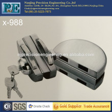 chrome plating stainless steel 304 double half round head double glass door lock plus hand action