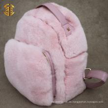 Rosa Farbe Niedliche Pelz Rucksäcke Echtes Leder Rex Kaninchen Pelz Rucksack für Mädchen