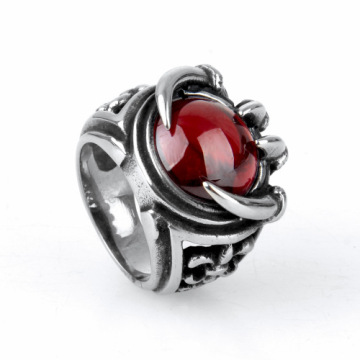 Vintage Design Silver Engraved Ball Stone Ring