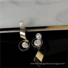 2019 new arrival pearl dangle hoop earrings