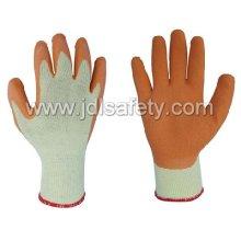 Luva de poliéster com revestimento do látex na palma da mão (LY2012)-laranja