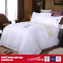 La literie de logo d'hôtel de broderie de 100Cotton a établi le drap de luxe