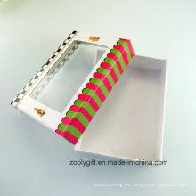 Caja de regalo de papel de cartón de diseño personalizado con ventana de PVC transparente