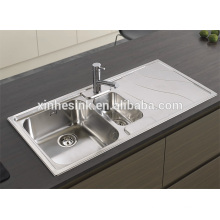 Drop in 1.5 Bowl Stainless Steel Topmount Kitchen Sink with Drainer Drainboard