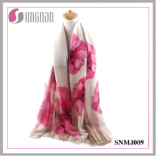 2016 últimas Noble Ladies Shawl Begonia Print Satin Cotton Scarf