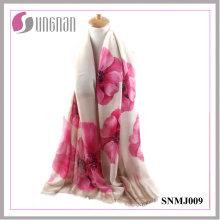 2016 Latest Noble Ladies Shawl Begonia Print Satin Cotton Scarf