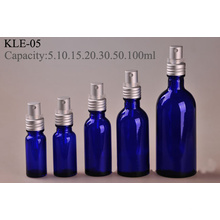 Visser la bouteille en verre bleue de pompe en aluminium argentée (klc-6)