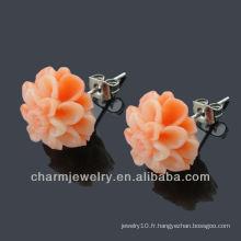 Fashion Resin Flower Boucles d'oreilles en acier inoxydable EF-005