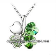Rodio plateado corazón de cristal de cuatro hojas de trébol afortunado collar colgante para las mujeres (PE-002G)
