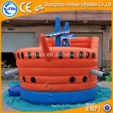 Laranja e azul bouncer inflável do navio pirata, playhouse plástico inflável do castelo