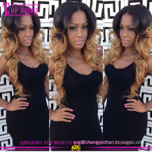 #1B/27 Ombre color 100% human hair silk top full lace wigs no shedding full thin skin cap full lace human hair wigs