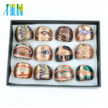 Handmade Mix Color Gold Sand Lampwork Glass Rings In Bulk 12pcs/box, MC1007
