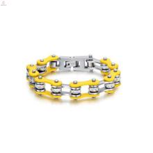 Factory price yellow plated biker bracelets for men, mens designer cycling id bracelet jewelry