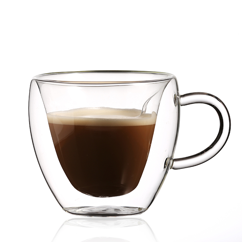 heart-shaped Double Wall Glass Cup Drinking Reusable Coffee Cup