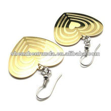 Heart style golden earring designs for women