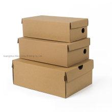 Logo Printing Flat Pack Packaging Natural Kraft Corrugated Paper Shoe Box