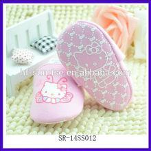 SR-14SS012 nuevos zapatos de bebé rosados de los zapatos de bebé zapatos de bebé recién nacidos planos lindos de la historieta del paño zapatos