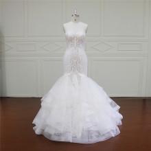 Длинный рукав кружева пляж свадебное платье (XF16009)