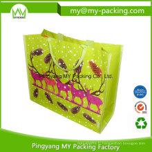 Sac réutilisable de promotion de tissu tissé de sac à provisions de pp avec la poche