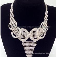 Moda retención anillo cristal collar de perlas