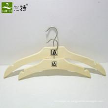 conjunto de cabide de vestuário laminado de cor natural personalizado contraplacado de cor