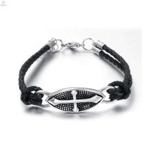 Высокое качество христианские готические кожаные браслеты, готический Шарм ювелирных изделий браслет