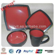 Ceramic Stoneware Reactive Printed 16pc Dinner Set Black and Red Square Dinnerware