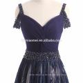 2017 neue mode blaue farbe backless abendkleid tiefem v-ausschnitt bodenlangen brautjungfer kleid für hochzeit