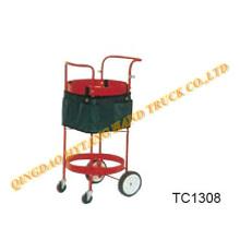 Chariot d'outil métallique rouge, matériel de jardinage