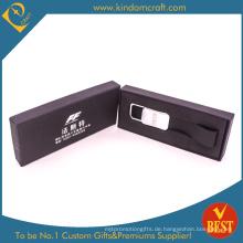 Hohe Qualität Großhandel Kundenspezifische Werbung Logo Echtem Leder Schlüsselanhänger mit Eligant Box