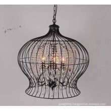 Creative Bird Cage Decoration Iron Crystal Pendant Light (GD9095-6)