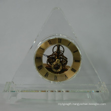 Triangle Gold Crystal Quartz Clock for Colleague Gifts