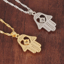 Fatima Hand Pendant Necklaces Antique Yellow Gold/Platinum Plated Women Man Religious Hot Fashion Hamsa Hand Jewelry