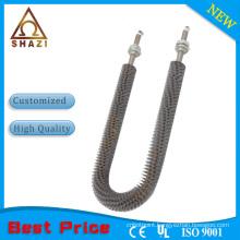 Finned U-shape tubular heating element