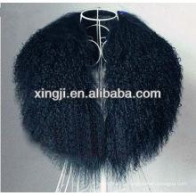 cuello de piel de cordero de Tibet teñido de color negro