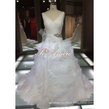 Delicados V-cuello Profundo Frills Sexy Volver Crystal Cintura Estilo Alibaba vestido de novia