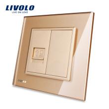 Panneau de verre Livolo Gold Crystal VL-C791C-13 Prise murale RJ45 pour ordinateur / prise Internet / Prise électrique