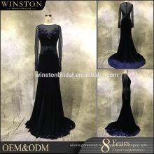 Лучшее качество продаж с длинным рукавом мусульманских вечернее платье
