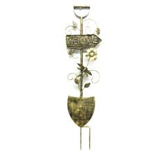 """Decoración de jardín útil Acabado de bronce """"Bienvenido"""" Pala Metal Stake Craft"""