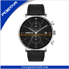Reloj cronógrafo con esfera negra y correa de cuero genuino