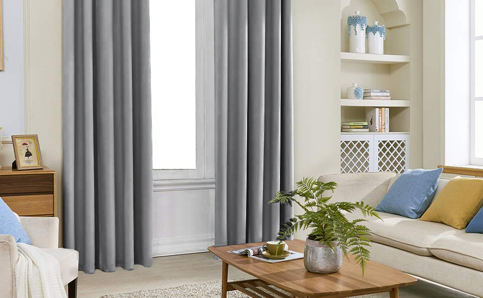 Grey Solid Blackout Curtains
