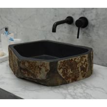 Hexagonal black granite sink