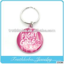 Coulée qui respecte l'environnement en alliage de zinc luttent le keychain en métal d'alliage d'émail rose de logo de keychain en métal de logo de filles