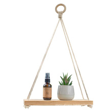 12 Inches Pure Bamboo Hanging Plant Shelf Indoor Swing Rope Floating Shelf