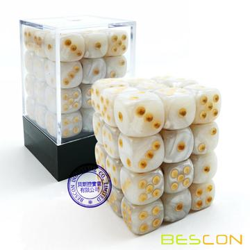 Bescon 12 mm 6 caras Dice 36 en Brick Box, 12 mm Six Sided Die (36) Bloque de dados, Marble White