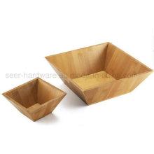 2PCS Set Square Shape Bamboo Salad Bowl (SE062)