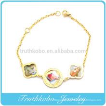 TKB-B0091 Médaille des Saints en Acier Inoxydable 18 images couleur de Jésus, bracelet Marie