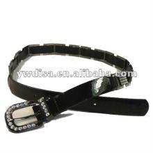 Ceinture PU pour femme avec PU noir, strass en cristal, alliage accessoris avec pistolet métallique