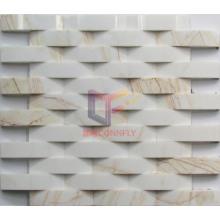 Polished Long Strip No Gap White Marble Mosaic (CFS1052)